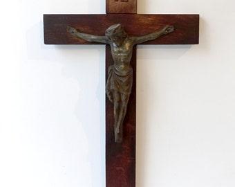 Antique oak wood wall crucifix cross with cast brass metal jesus, large wall crucifix