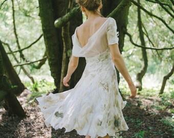 Flowering Rustic Wedding Dress Nuno Felted / Silk and Softest Wool