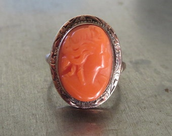 Antique Cameo Ring - Edwardian Cameo Ring - Carved Coral Cameo Ring - Orange Coral Cameo Ring - Coral Ring - Vintage Cameo Ring - Apricot