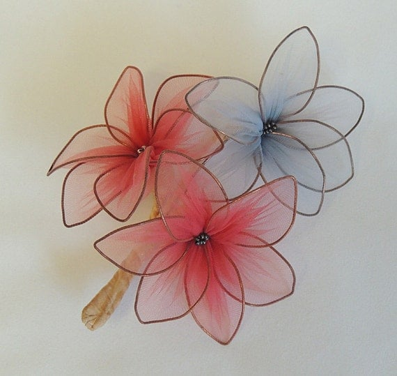 Antique Handmade Millinery Hat Flower Wire & Fine Net Corsage.. Pink And Blue