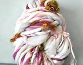 Handspun Yarn bulky 80 yds art yarn thick and thin bulky yarn crochet supplies merino wool waldorf doll hair knitting supplies