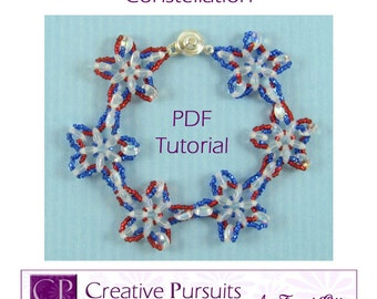 Constellation PDF Tutorial (modified daisy chain bracelet using CzechMates two-holed lentils and 15/0 seed beads)