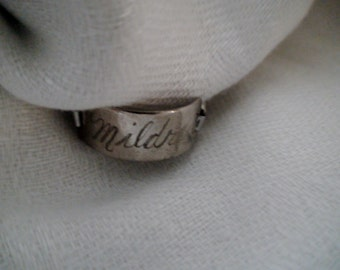 "1950's Identification Ring, Expansion Style, Engraved "" Mildred"""