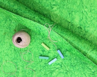 """Kelly Green Handmade Recycled Rag Paper from India, 25x30"""", Rich Crinkled Leather Texture Perfect for Craft Projects, Gift Wrap Eco Friendly"""