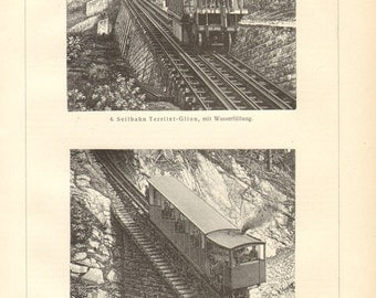 1903 Mountain Railways, Vintage Engraving Print