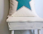 turquoise star bling pillow cover, 18 inch