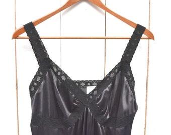 Black Lace Slip Dress - 1960s Vintage Full Slip - Union Made - 36 Inch Bust - Small S / Medium M