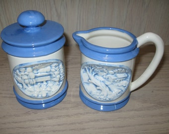 PDS #91 Hershey Mold Embossed 3-D Country Scene Creamer & Sugar Bowl 1957-1991