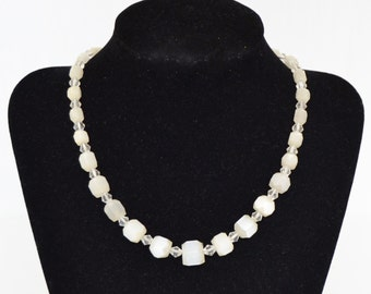 Vintage Necklace with Clear Off-White Glass Beads