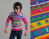 vintage sweater hot pink Easter floral rose striped girls jumper pom-pom easter egg jumper small XS Lucky 7