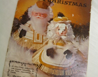 Vintage Crafty Christmas 25 Project Instructions - Vintage How-To Book Vintage Circa 1970s  Includes Book Santa and Mrs. Claus Set DIY