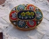 Vintage Multi Color Italian Micro Mosaic Floral Brooch