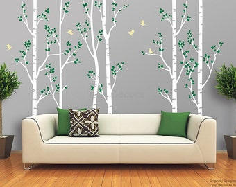 "Living Room Trees Wall Decals Nature Tree Forest Removable Wall Stickers- Birch Tree Forest (102""H) - Free Custom Colors PT-0275"