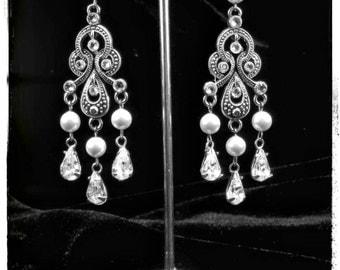 Divine Swarovski Pearl Swarovski Crystal Vintage Marcasite Inspired Chandelier Bridal Earrings