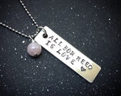 Custom Crystal Mantra Necklace- All You Need Is Love