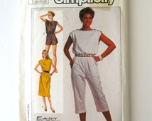 1980s Jumpsuit Romper Pullover Dress Pattern Simplicity 7428 Shoulder Closing Sewing Pattern Misses Size 10 12 14 Bust 32.5-36 UNCUT