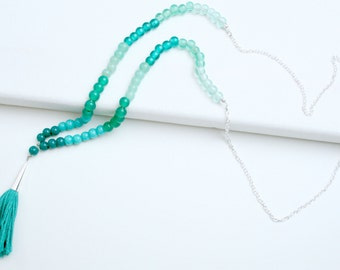 Ombre Turquoise Tassel Necklace in silver