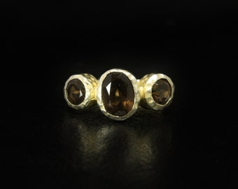 Smoke Quartz Gold Ring Vermeil Sterling Silver Size 7.5 Signed ATI