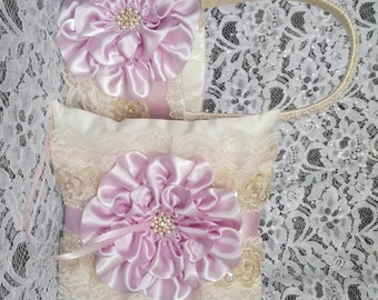 Flower Girl Basket and Ring Bearer Pillow Set, Ivory, Pink Lace, Light Lilac, blush, Blue Pearls & Rhinestones, Fairytale Wedding Theme