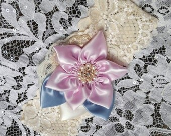 Wedding Garter Set, Once Upon a Time, Ivory Lace, Light Lilac, blush, Wisteria Blue, Rhinestones, Fairytale Wedding, Happily Ever After