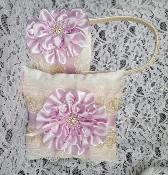 Flower Girl Basket And Ring Bearer Pillow Set Ivory Pink Lace Light