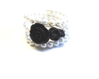 Day of The Dead Bracelet Sugar Skull White Pearl Rose Black Jewelry