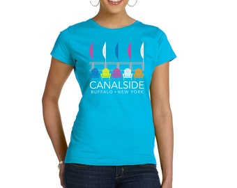 Ladies buffalo tshirt Canalside Buffalo NY waterfront downtown adirondack chairs