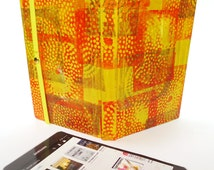 Yellow Orange Abstract Art eReader Case with Polka Dot Lining [Fits Kindle Fire, Voyage, Paperwhite, Galaxy Tab, Nexus 7]