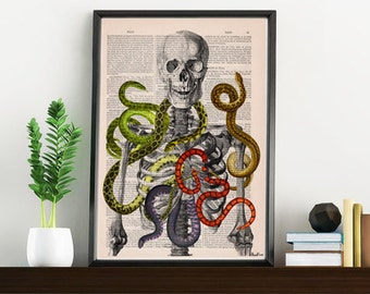Summer Sale Skeleton with snakes, Wild nature print, Anatomical art print, SKA103