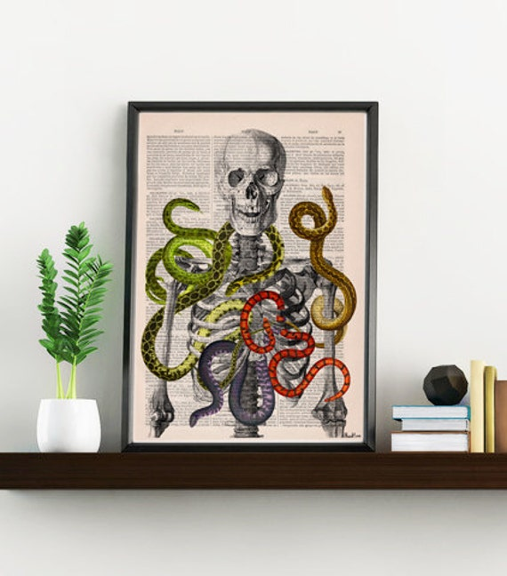 Skeleton with snakes, Wild nature print, Anatomical art print, SKA103