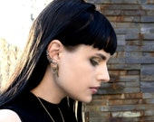 Steampunk Wing Ear Cuff - Fake Helix No Piercing - Brass And Sterling Silver Earrings - Steampunk Collection