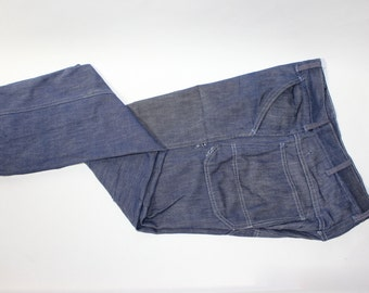 vintage 1960's Sears jeans. Blue denim Carpenter pants. Washed & Worn, but not worn out. Men's Size 34 x 30