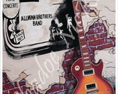 Tribute to Duane Allman from Allman Brothers Band with his Gibson Les Paul & Fillmore East Art Print (Poster Sized)-Free Shipping in USA!