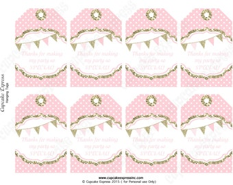Pink Gold Hanging Thank You Tags One First Birthday girl coral pink gold PRINTABLE  glitter 1st birthday Instant Download - 1030