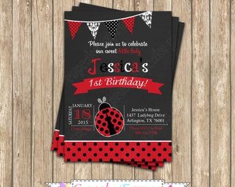 Ladybug first Birthday Invitation DIY  PRINTABLE chalkboard Invitation #6  5x7 4x6 red black lady bug personalized polka dot