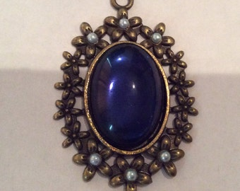 Vintage Sapphire Oval 25x18mm Cabochon 50x33mm Swarovski Blue Pearl Accent Flower Brass Pendant QTY - 1
