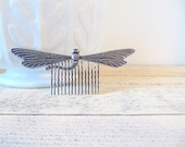 Antique Silver Hair Comb, Dragonfly, Dragonfly Hair Comb, Antique Silver Brass, Art Nouveau Hair Comb, Dragon Fly Hair Accessory JOURNEY