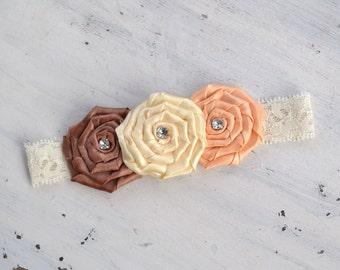 Satin Rosette Headband- newborn photo prop, baby girl headband, girls, women, fall