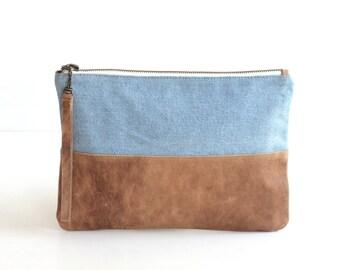 Leather Denim Wristlet. Leather Zipper Pouch. Leather Zip Pouch. Denim Bag. Denim Pouch. Leather Purse. Women Purse. Leather Wristlet