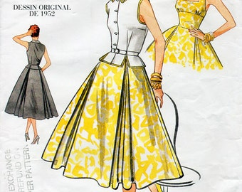 1950s Dress and Blouse Pattern Vogue Vintage Model 2561 Reprint Sewing Pattern Full Skirted Dress Peplum Blouse Bust 34-36-38 FF Unused OOP