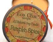 Soy Candle - Sweet Pumpkin - 8 ounce reusable tin - Environmentally Safe
