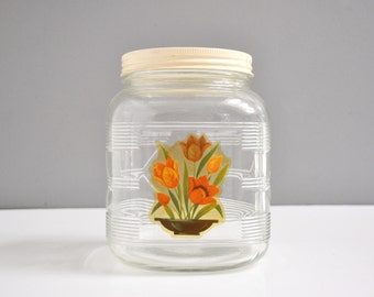 Art Deco Glass Canister with Floral Decal