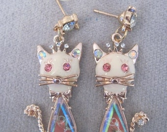 Fish in the Tummy of the Smiling  Kitty Cat Earrings