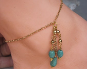 """9"""" Gold Filled Petite Chain with Three Dangling Howlite Tassels"""