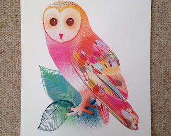 Gorgeous Ilona Drew barn owl giclee print.