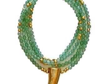 aventurine gold horn necklace