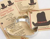 Cookie Cutters, Cowboy Hat Cookie Cutter, Rustic Weddings, Farm Party Favors, Cookie Cutter Favors, Recipe Card, Cowboy Cowgirl Party Favors