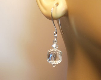 Clear Crystal Drop Earrings, Christmas Mom Sister Grandmother Girlfriend Bridesmaid Jewelry Gift, Simple, Pretty, Small