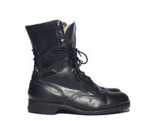 9 W | Men's 1970's Vintage Combat Boots Black Leather Military Boots dated 1977
