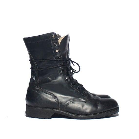 9 w s 1970 s vintage combat boots black leather